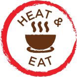 round red circle jaggered edge with the words Heat Eat and bowl with steam centered