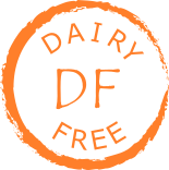 rough grey circle enclosing words Dairy Free and symbol DF