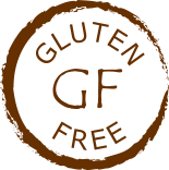 rough brown circle enclosing words Gluten Free and symbol GF