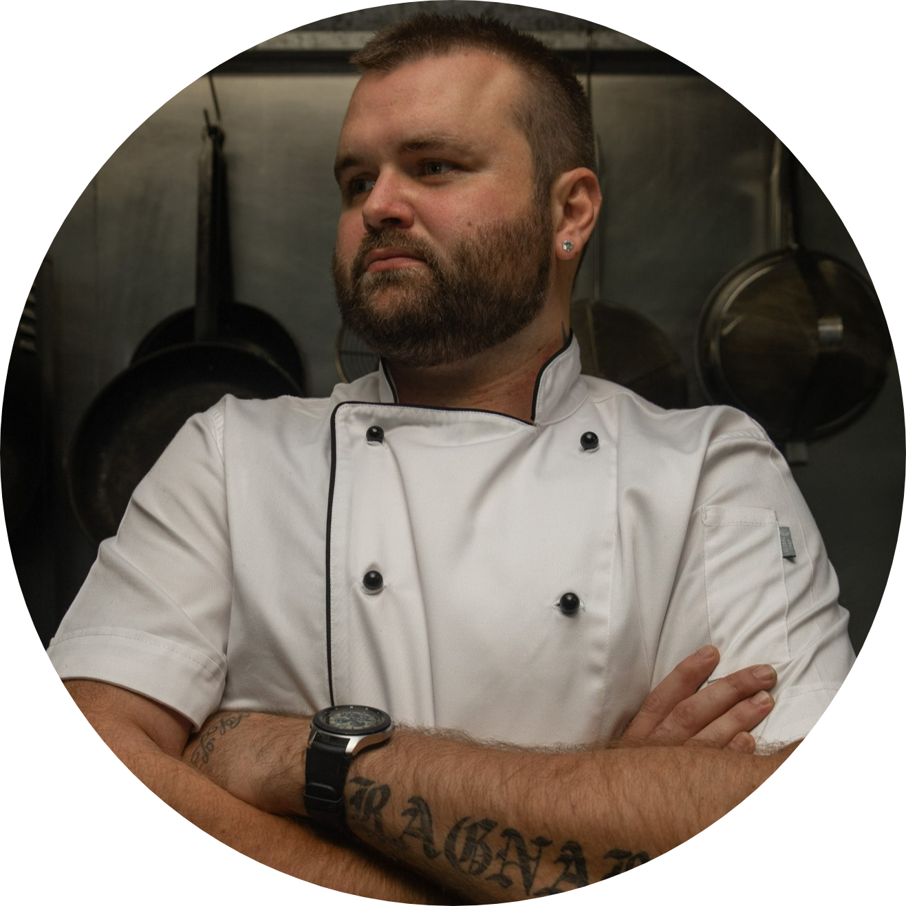 Shaun Leach: Head Chef posing with expresion: no soup for you