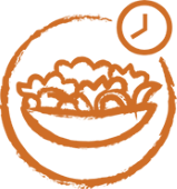orange, partial circle with clock, bowl of food centered